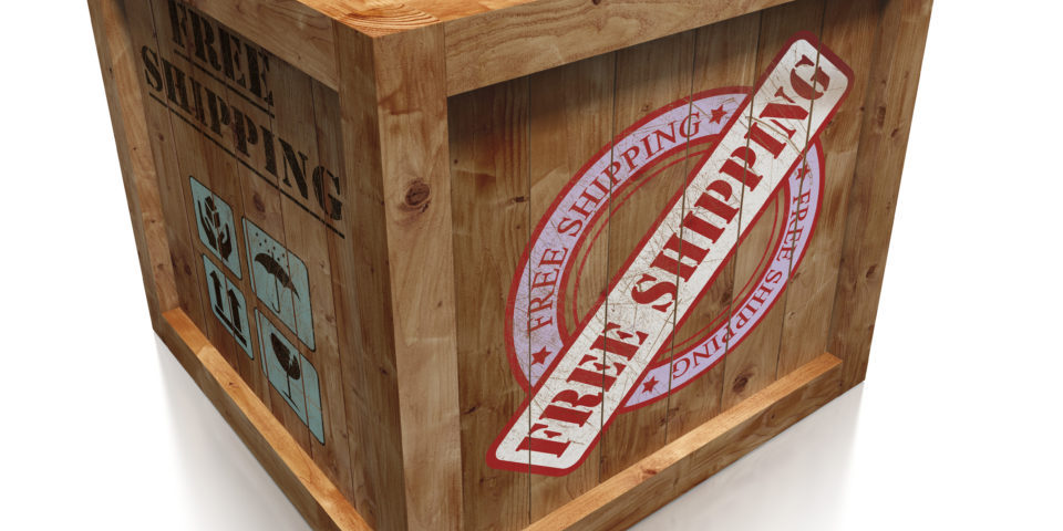 wooden box crate with free shipping grudge sign. clipping path included